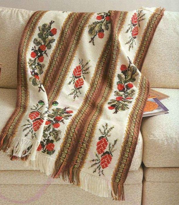 Тунисское вязание крючком пледы подушки покрывала схемы 866