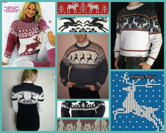 Вязание мужского свитера с оленями 503