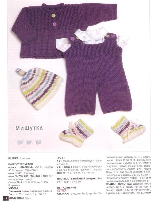 Вязание спицами для детей до 1 года со схемами.