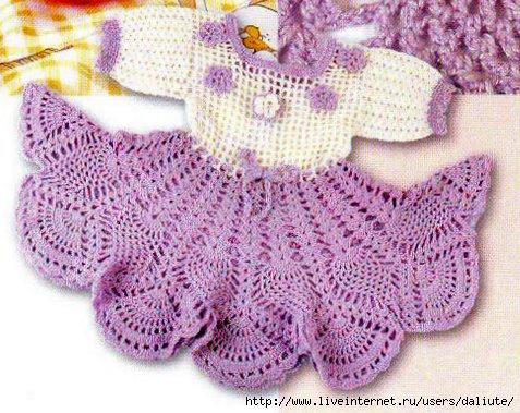 вязаные платья для девочек крючком со схемами - Выкройки одежды для...