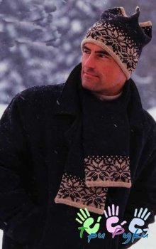 Мужские вязаные шарфы и шапки.