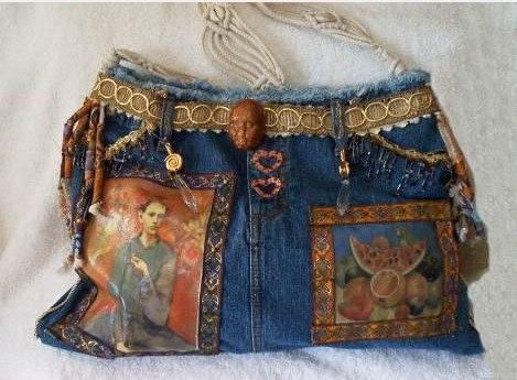 Румка из старых джинсов.  Ткань Дебют.