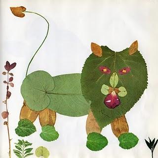 Осенние поделки для детей, аппликация из листьев - Кот и мышка.