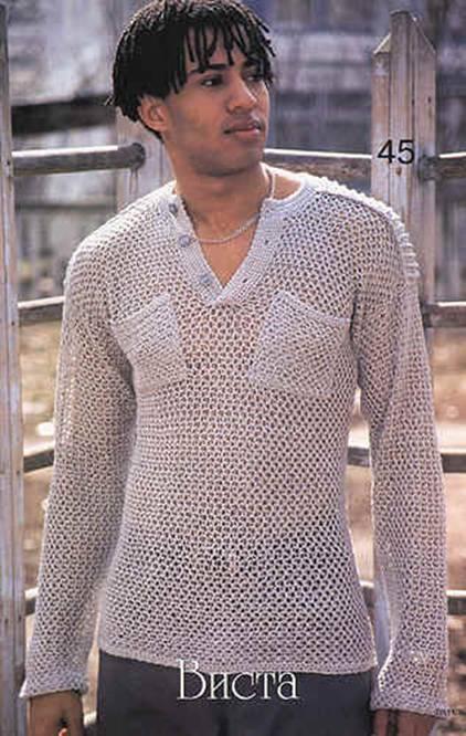 свой цитатник или сообщество!  Мужской пуловер крючком.
