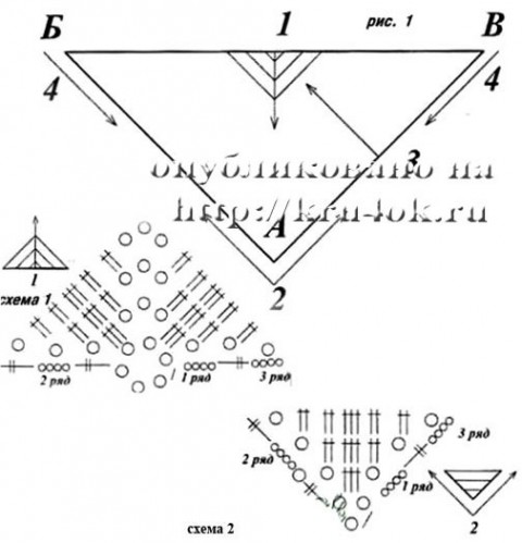 вязания крючком треугольного мотива.