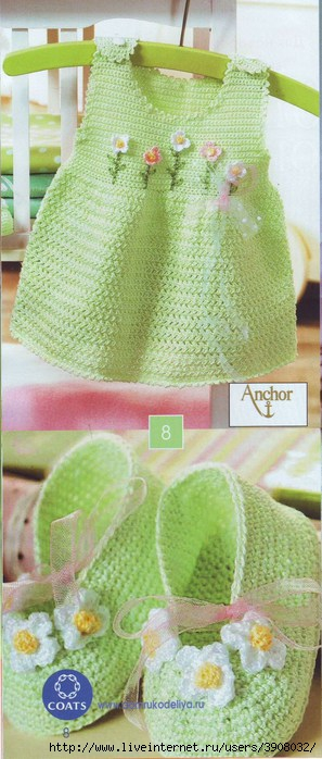 вязание сарафана спицами для детей.