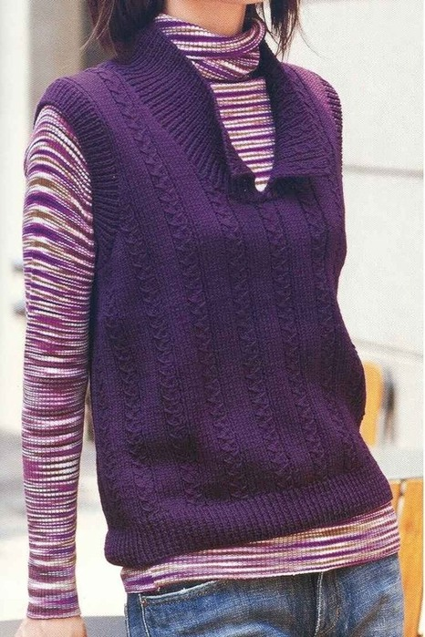 Вязание спицами - безрукавка.