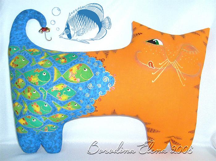 Подушки-коты Елены Бородиной.