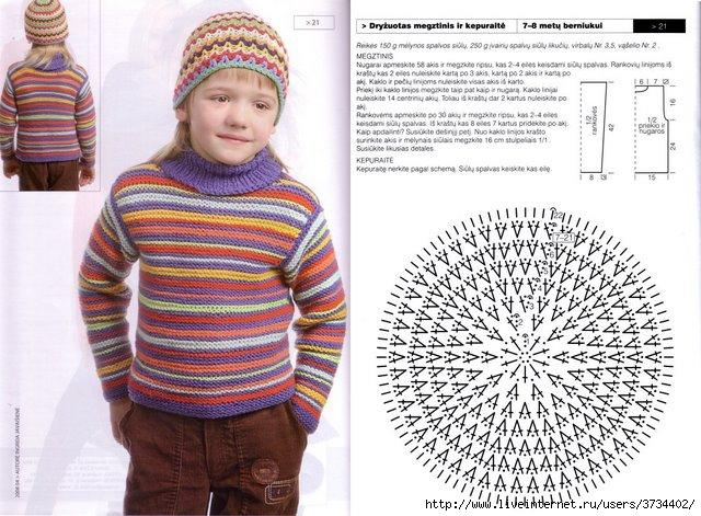 Схема вязания на спицах свитера для новорожденных.