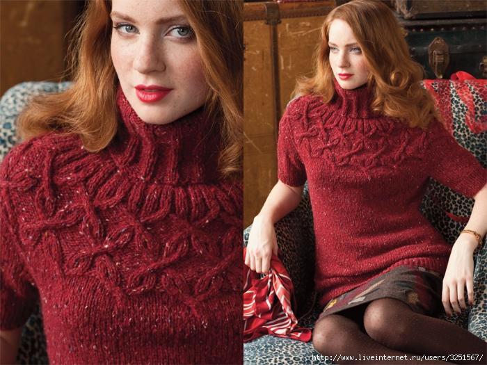 Тема на Осинке.  Пуловер с арановой кокеткой (CABLE YOKE PULLOVER) из...