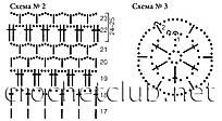 Схема вязания снежинки.