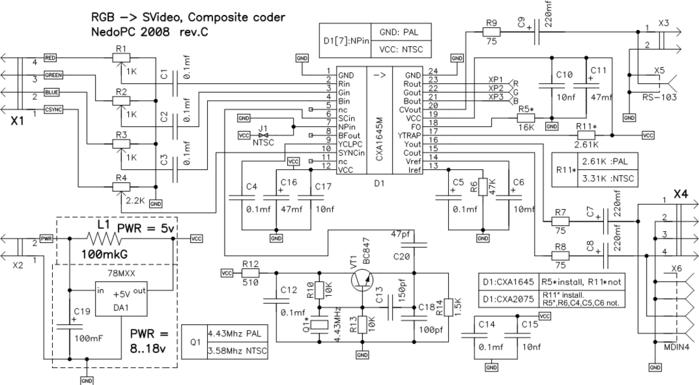 vga rgb  to composite video  pal or ntsc  converter