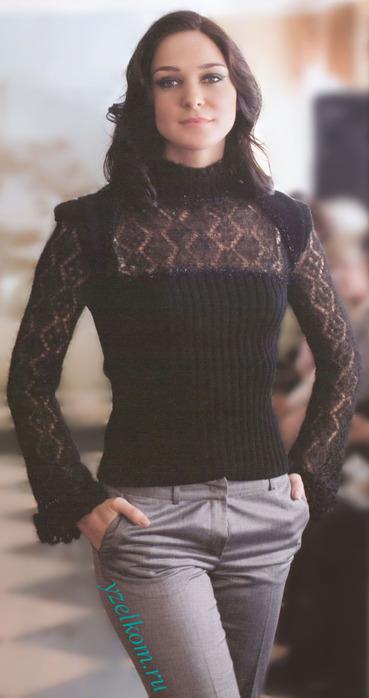 Пуловер спицами на ажурной кокетке.  Для вязания пуловера 46 размера...