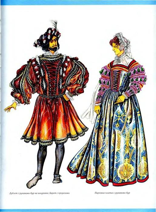 Эскизы женских костюмов XIX века.