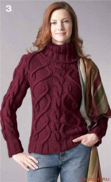 Прочитать целиком.  Пуловер с аранами.  Общий вид схемы для вязания.