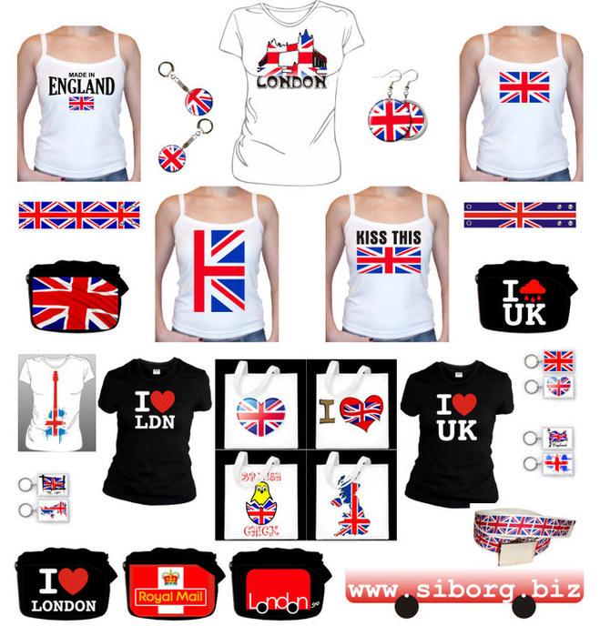 Зонты с британскими флагами, кошелек с британским флагом.