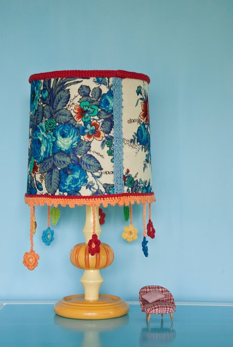 Идея декора абажура (вязание, крючок)
