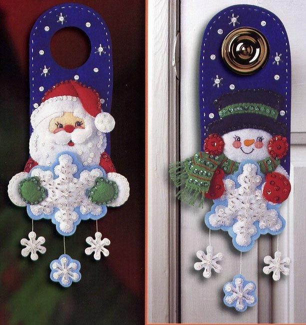 Очаровательные Новогодние украшения на дверь Выкройка.
