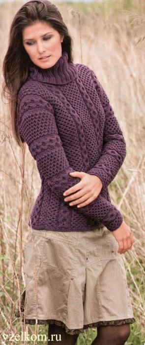 Вязание спицами вязанный ажурный свитер.