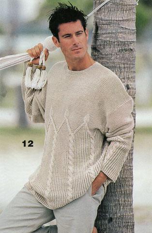 Модели вязаных спицами молодежных мужских пуловеров в полосочку.