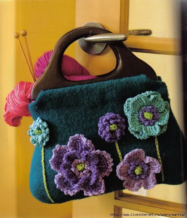 как украсить вязаную сумку - Сумки.