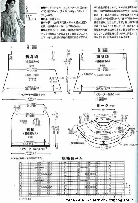 Описание: вязание спицами модели из японских.