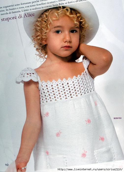 Вязаный спицами и крючком белый сарафан с вышивкой для девочки, Bimbi...