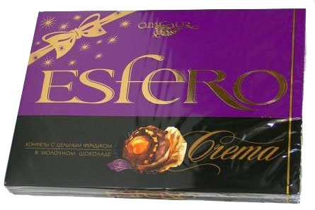 """Esfero Crema TM Amour.  Коробка конфет.  Артикул.  Вес."