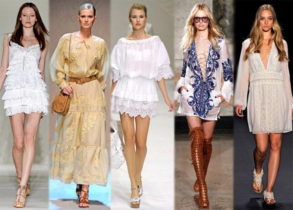 Мода весна-лето 2011 - Модные платья - Кружевное платье.
