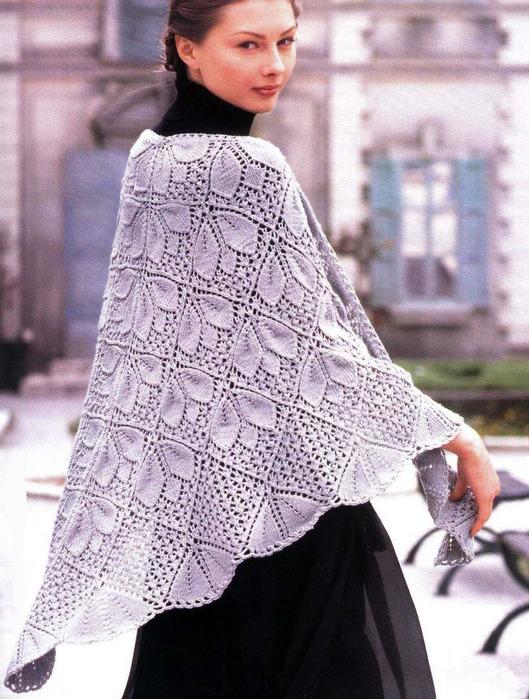 Схема вязания шали на спицах.