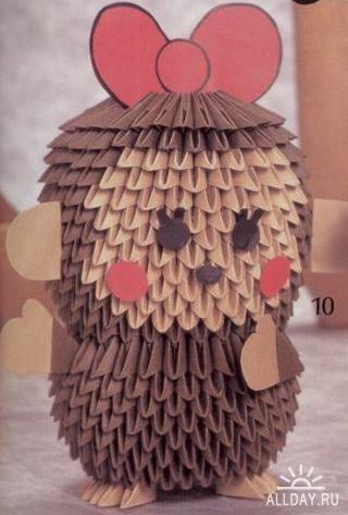 Забавние японские зверушки в 3D оригами.  Пошаговые инструкции.