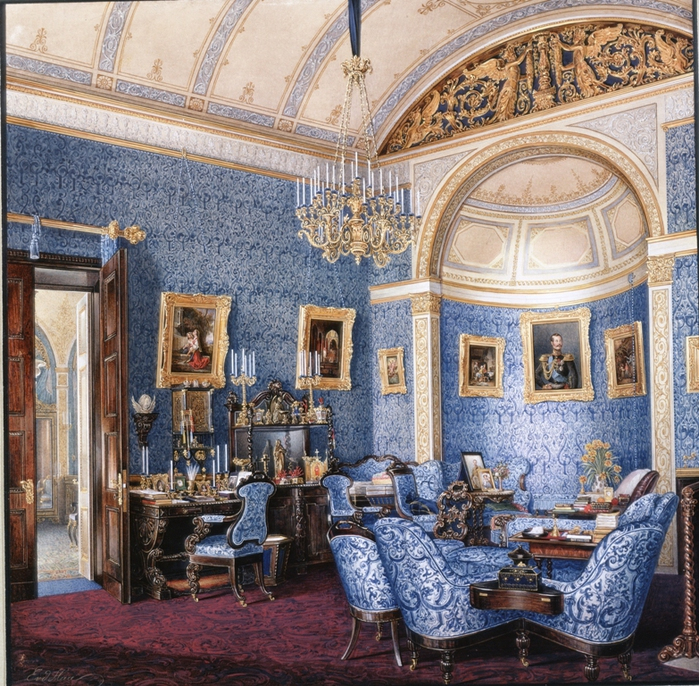 Hau, Edward Petrovich - Interiors of the Winter Palace. The Boudoir of Grand Princess Maria Alexandrovna - OR-14444 (700x686, 451Kb)
