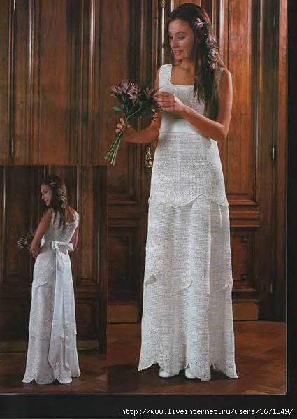 Платье свадебное крючком.  Фото вязаной модели платья.