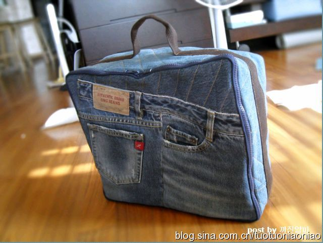 Сумка-чемодан из старых джинсов .МК.  Сундучок для швейных...