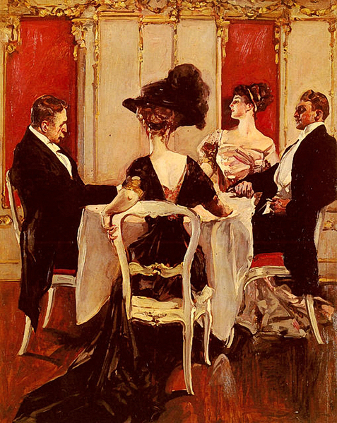 Albert Beck Wenzell (American, 1864-1917)  -  Idle Coversation (477x600, 395Kb)