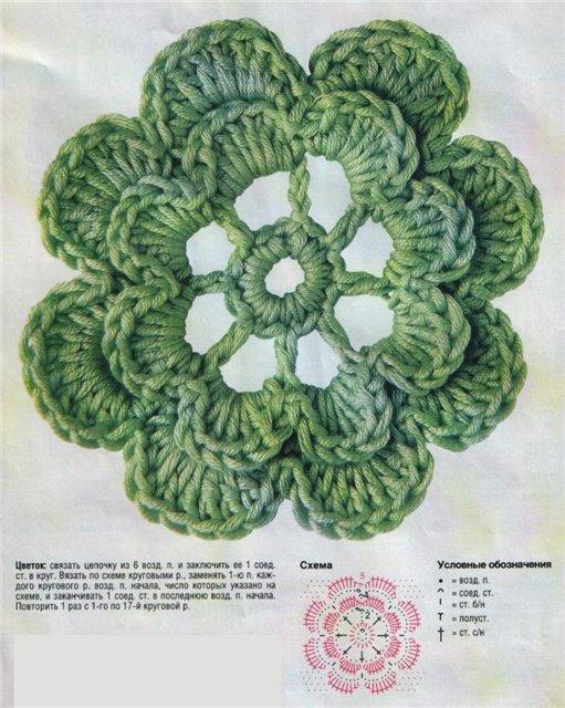 вязаные цветы крючком описание.