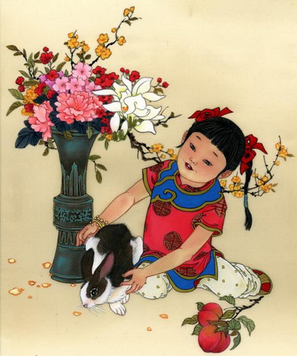 year of the rabbit - girl -prosperous-Abundance (584x700, 128Kb)