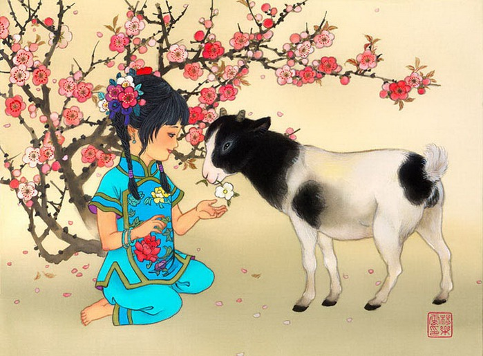 year of sheep - girl - A Flower for my lady (700x515, 124Kb)