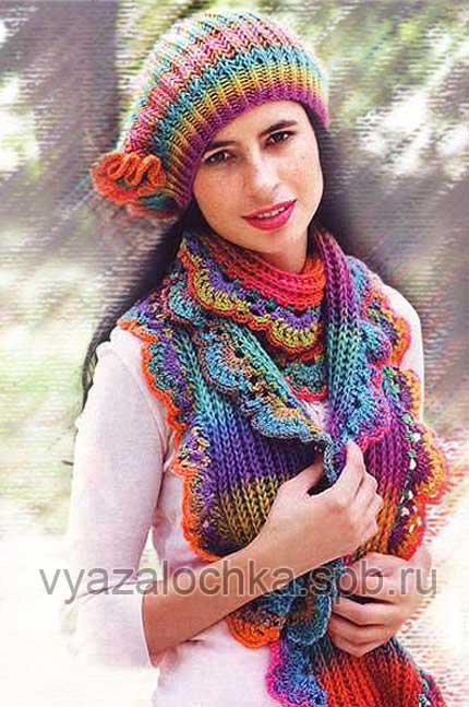 вязание мужского шарфа спицами схема.