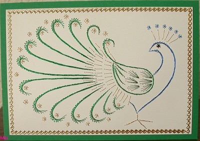 Азова, открытка с павлином в технике изонить