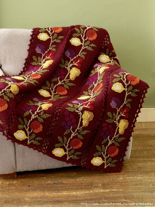 Тунисское вязание крючком пледы подушки покрывала схемы 935