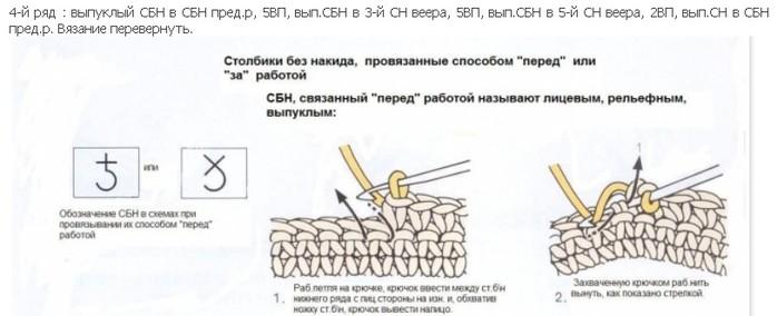 Рельефные столбики крючком Ридикюль.