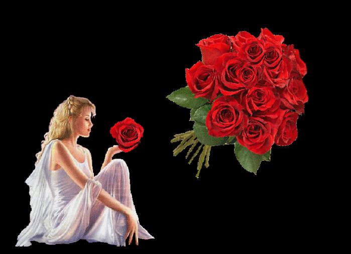 Красивые гифы с цветами о любви, сердцем