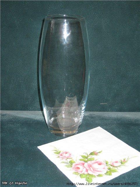 Декупаж на стеклянной вазочке. Лучшие ручные работы