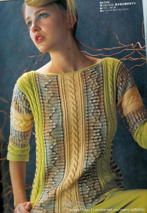 вязание шарфа из секционной пряжи спицами