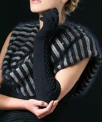 Черные перчатки и шарф-хомут из Аnny Blatt.