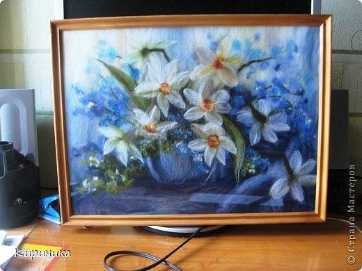 Картина, панно: Шерстяная акварель нарциссы Шерсть.  Фото 1.