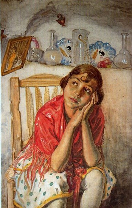 George Owen Wynne Apperley (1884 – 1960, English)thoughtful (443x700, 262Kb)