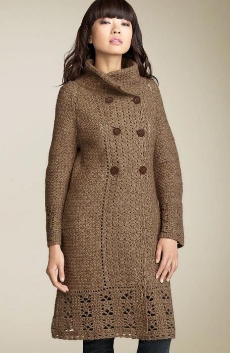 Пальто спицами Салфетки, прихватки и все.