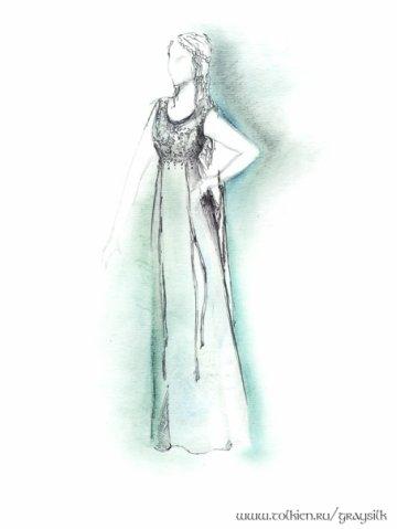 """Модель 2  """"Зеленое с серебром """" (эскиз) - Вечерние платья - Свадебные и..."""